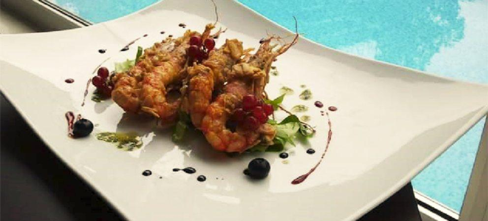 Mazzancolle in Pastella con Scaglie di Mandorle e Frutti rossi - Chef Francesco Arena