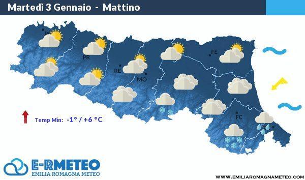 Previsioni meteo dal 3 al 5 Gennaio 2017